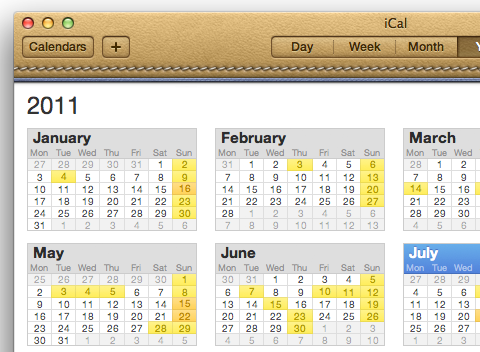 iCal with torn paper